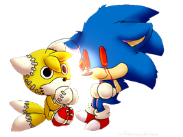 Chibi Sonic.exe And Tails Doll by Klaracrystalpaws