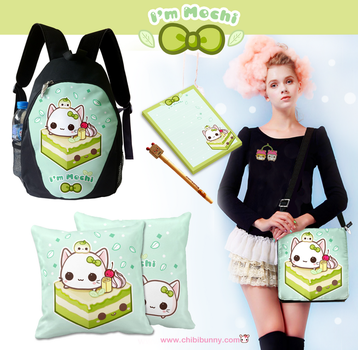 Cute Mochi kitty and green tea cake products by tho-be