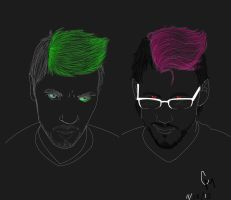 Antisepticeye and Darkiplier by Willowbreez