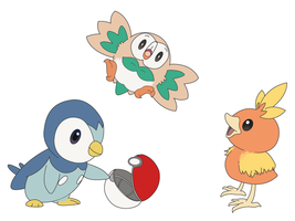 Bird Starters: Rowlet, Torchic and Piplup by dishwall
