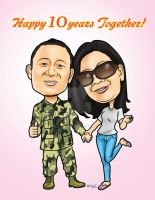 Digital Couple Caricature for MJ by melcasipit