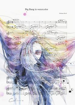Big Bang in Watercolor on Sheet Music by agnes-cecile