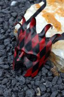 Black and Red Jester Leather Mask by OsborneArts