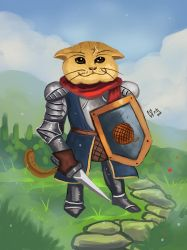 Cat knight by IcedEdge