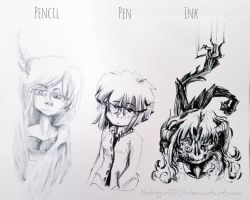Sketches with different materials owo! by NekoGirl201