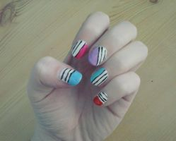Stripes nail art by Hrasulee