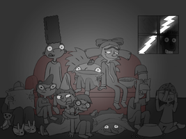 Watching a Scary Movie at Night by TigerUnknown