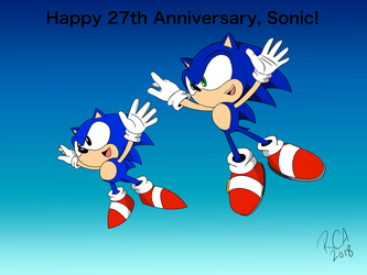 Happy 27th Anniversary, Sonic! by robertamaya