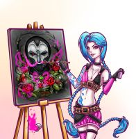 Jinx scribbling Jhin's painting, naughty her! by JamilSC11