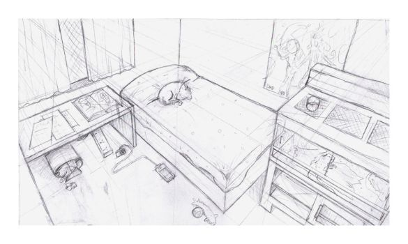 Room Perspective Sketch by Eimah