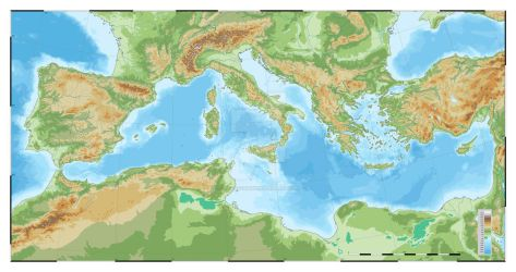 Mediterranean topographic map by SalesWorlds