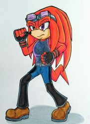Commission- Knuckles as Hwoarang by Sky-The-Echidna