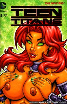 Naughty Starfire bust cover by gb2k