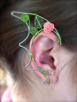 Dragon Inspired Pair of Floral Silver Elf Ear Cuff by jhammerberg
