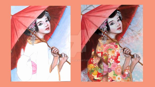 Japanese Geisha (Before and After) by spelleria