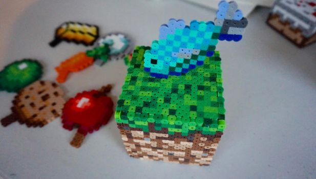 Minecraft grass block with food items by 16bitcrafting