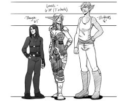 Prayce, Lore, Illi - Height Comparison by LoreliAoD