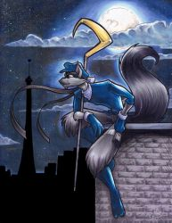 Sly Cooper mixed media painting commission by Bee-chan