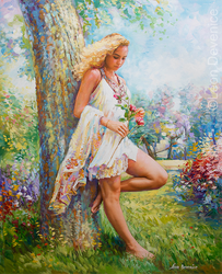 Summer Blossom Oil Painting by Leon Devenice by leondevenice