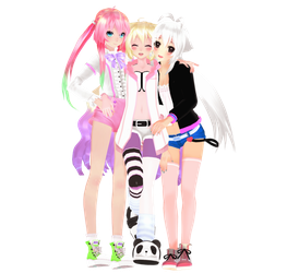 MMD My Girls + pose DL by nyanami