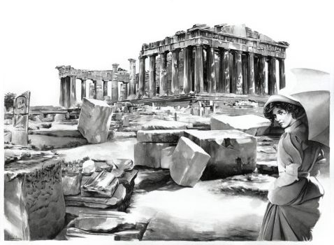 Lady Gabrielle on the Acropolis (for sale) by dimitriskoskinas