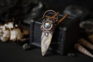 Agate, Labradorite, Moonstone and Tentacle Pendant by IkushIkush