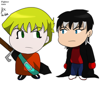 chibi Schroeder and xaos by fighterxaos