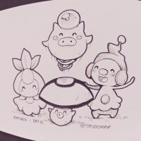 Inktober #10: Petilil, Foongus, Spoink and Mime Jr