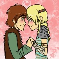 Hiccup+Astrid by yamilink