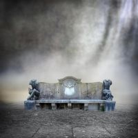 Premade BG Stonebench in a misty mood by E-DinaPhotoArt