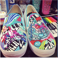 WIP - Music Paint Shoes by artsyfartsyness