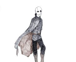 Gaster in a cape by LittleSnaketail