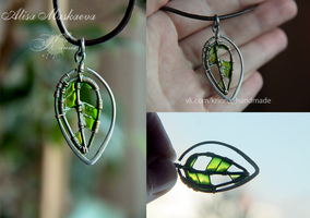 Wire Wrapped emerald leaf by Krinna