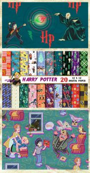 Harry Potter Digital Paper by MadTwinsArt