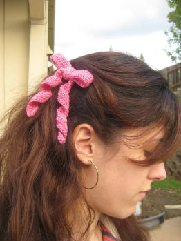 Pink Crocheted Ribbon Hairbow by crazynina