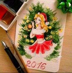 New Year pinup style greeting card by Verachana