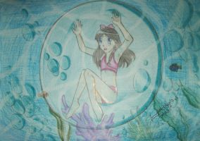 Isabella trapped in bubble underwater by YukichanBerryboy