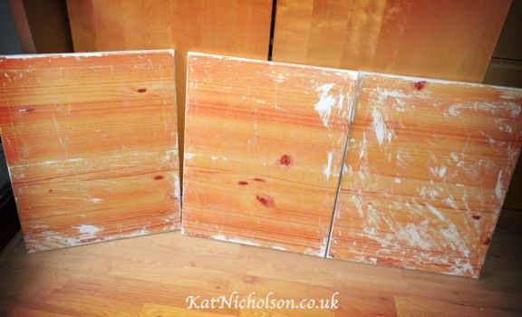 3 vintage wood-effect canvases by KatCardy