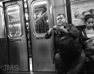 Phone User on Subway Car by steeber