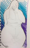 Big woman sketch selfie by norberthor