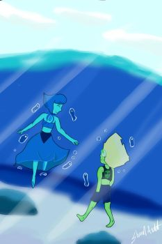 Steven universe Lapis and Peridot Stroll colourSte by lelouch10