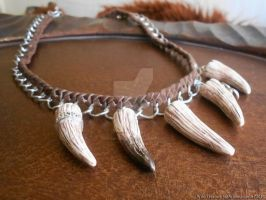 Orc Tusk Statement Necklace (OOAK) by Ariannasaurus