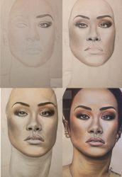 Rihanna Step By Step Drawing by Narniakid