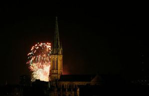 Fireworks and church by KajiyaEol