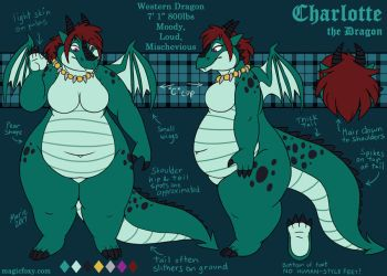 Charlotte Dragoness ref sheet by PudgeyRedFox