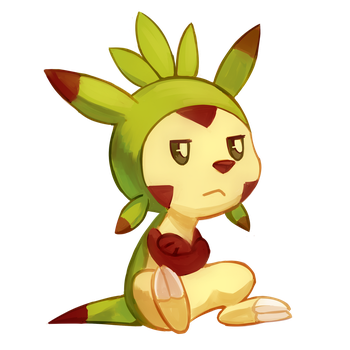 Art Trade - Grump Chespin by Flavia-Elric