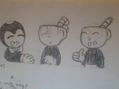 bendy meets cuphead and mugman by MelodyTheBunny8