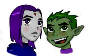 Raven and Beast Boy by ConnieCamaro