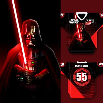 My Lucasfilm approved Vader USA Hockey Jersey by darrinbrege