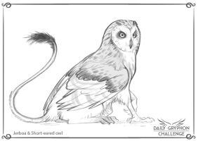 Gryphon Challenge 25 : Short-eared owl and Jerboa by Pechschwinge